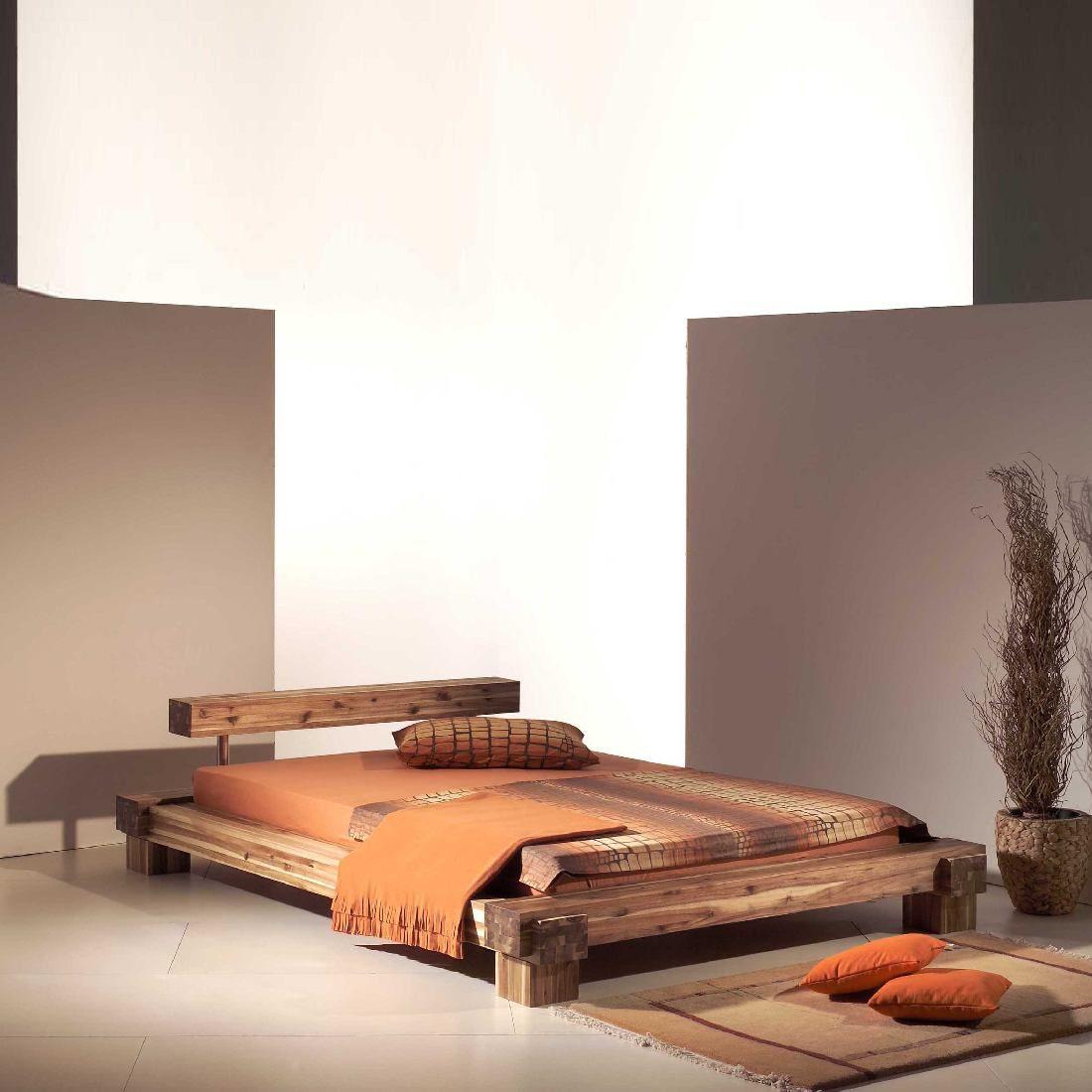 bett massivholzbett akazie cali 140 x 200 cm modular ebay. Black Bedroom Furniture Sets. Home Design Ideas